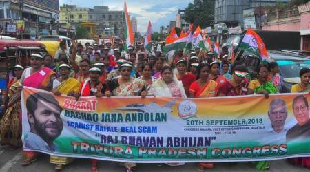 Congress holds protest rally in Tripura, demand Prime Minister to go public with Rafale deal