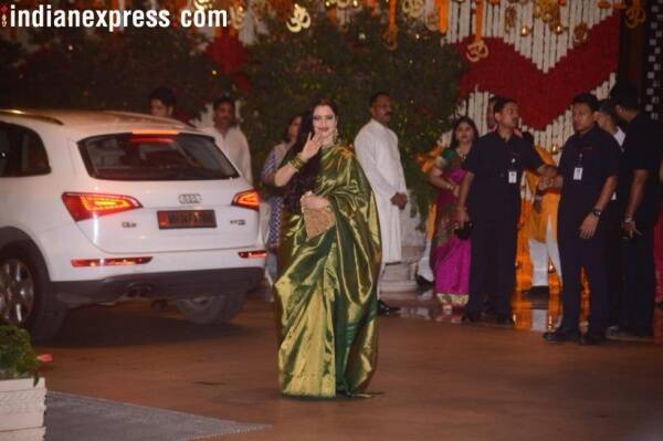 rekha at ambanis house for ganesh chaturthi