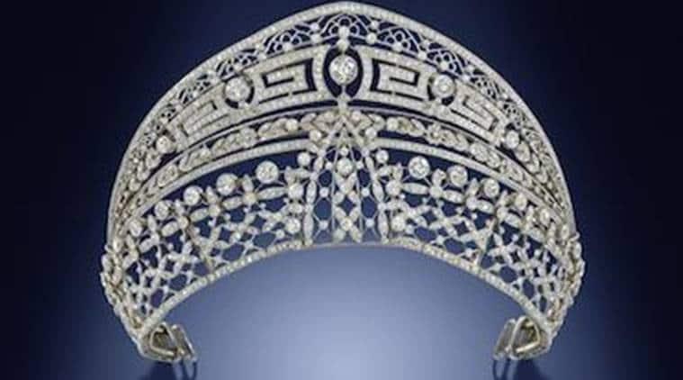 bonhams, london, tiara, royal tiara, royal crown, kate middleton, tiara for sale, meghan markle, doubles up as a choker, Spanish Queen Victoria Eugenia, indian express, indian express news