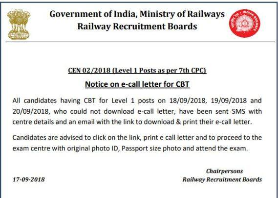 RRB Group D: Exam centre, admit card, schedule for CBT