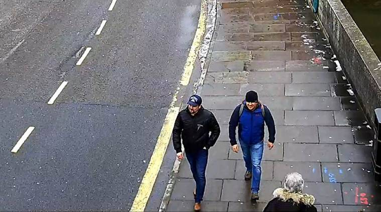 The two men charged with killing former Russian spy Sergei Skripal in a CCTV grab