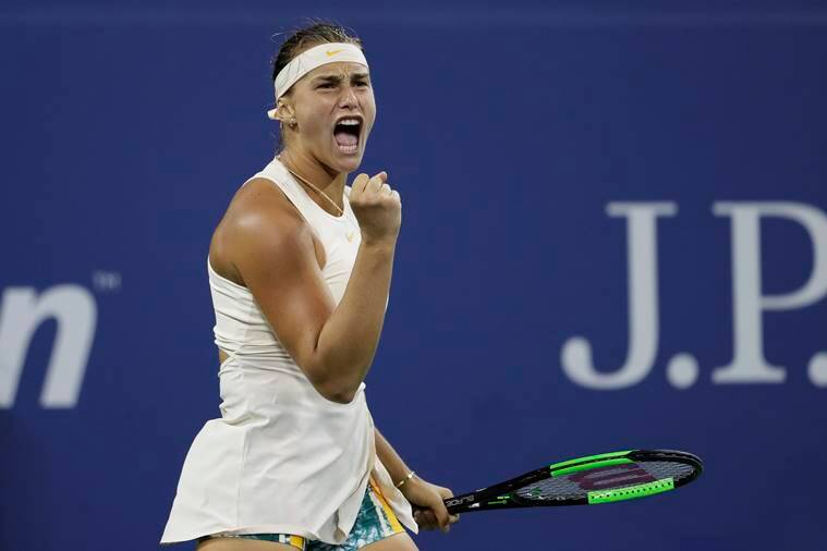 Aryna Sabalenka, of Belarus, reacts after winning a point against Petra Kvitova, of the Czech Republic, in a third-round match at the U.S. Open tennis tournament, Saturday, Sept. 1, 2018, in New York.