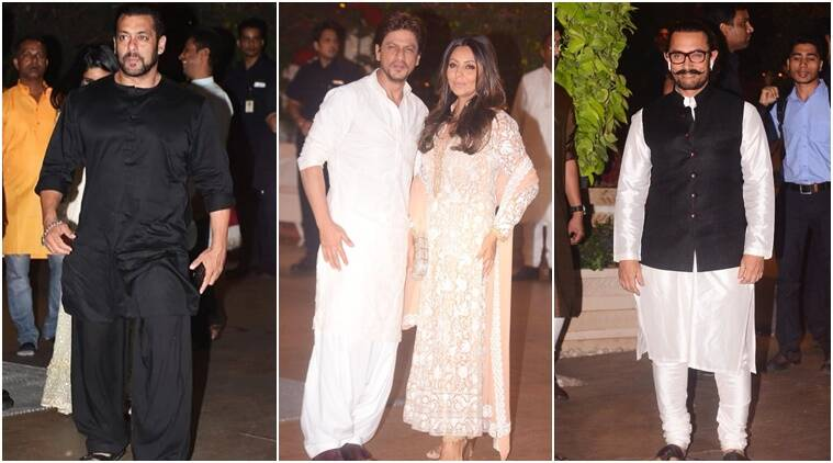 shah rukh, salman, aamir at mukesh ambani house