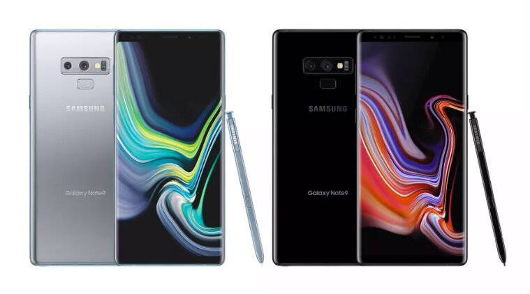 Samsung Galaxy Note 9 silver and black colour options ...