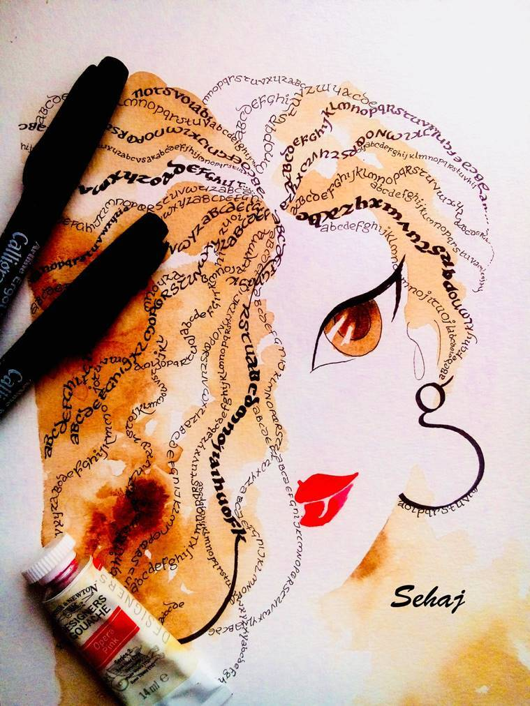 sehaj kandhari, doodle artist, doodles, doodle with a twist, fusion of doodles with writings, artists, indian art, art work, indian express, indian express news