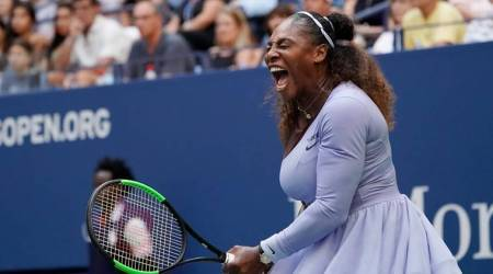 Serena Williams of the USA reacts to winning a game in the third set against.Kaia Kanepi of Estonia (not pictured) in a fourth round match on day seven of the 2018 U.S. Open tennis tournament at USTA Billie Jean King National Tennis Center.