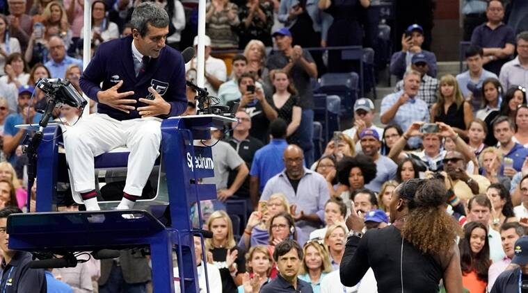 Serena Williams of the USA argues with chair umpire Carlos Ramos after losing to Naomi Osaka of Japan in the women's final on day thirteen of the 2018 U.S. Open tennis tournament at USTA Billie Jean King National Tennis Center.