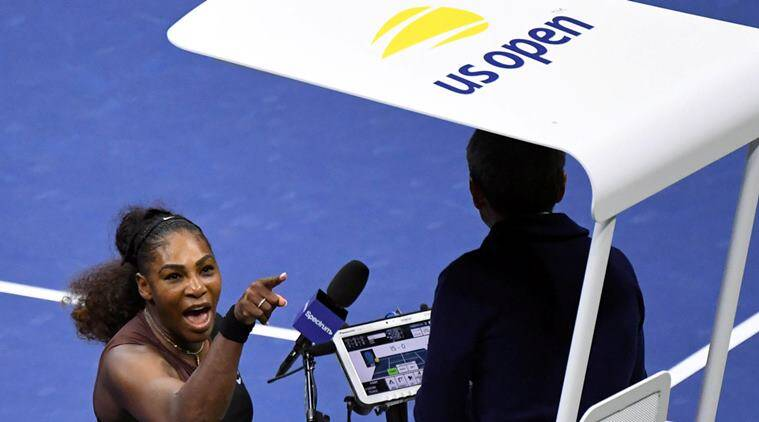 Serena Williams of the United States yells at chair umpire Carlos Ramos in the women's final against Naomi Osaka of Japan on day thirteen of the 2018 U.S. Open tennis tournament at USTA Billie Jean King National Tennis Center.