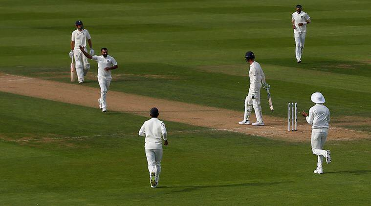 India's Mohammed Shami celebrates taking the wicket of England's Keaton Jennings with team mates in fifth Test at The Oval
