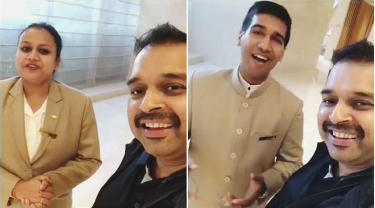 shankar mahadevan, singing talent, bengaluru hotel staff singer, beauiful singing videos, hotel staff sing shakar mahadevan, viral videos, indian express