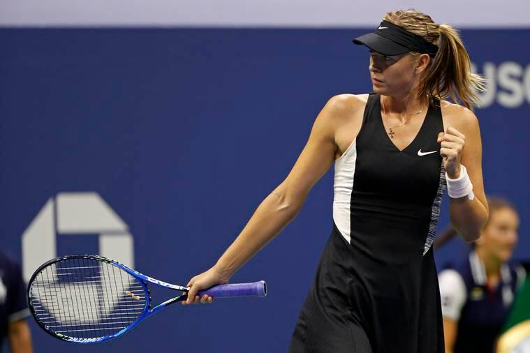 Maria Sharapova, of Russia, reacts after winning a point against Jelena Ostapenko, of Latvia, during the third round of the U.S. Open tennis tournament