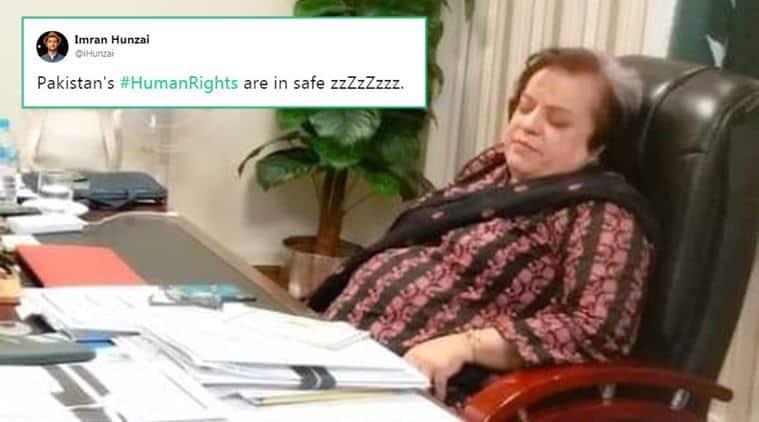 Pakistan, Pakistan minister, Pakistan news, Pakistan Human Rights minister sleeping office, Shireen Mazari, Shireen Mazari sleeping, Shireen Mazari sleeping office, Shireen Mazari office picture, indian express, indian express news