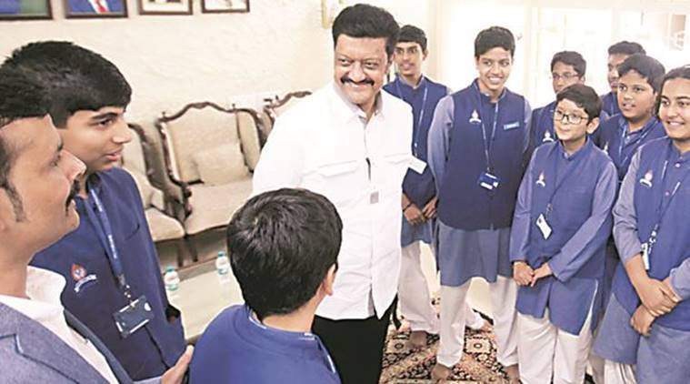 Students from Sanskriti School with Pune MP Anil Shirole at his home on Friday. Arul Horizon