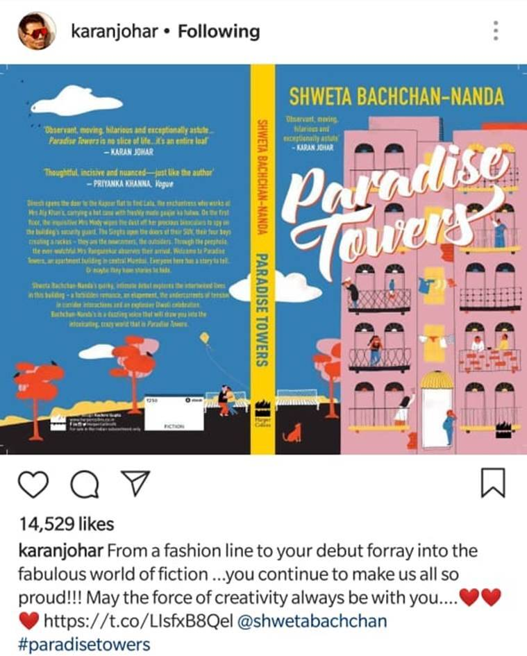 karan johar on shweta bachchan book paradise towers