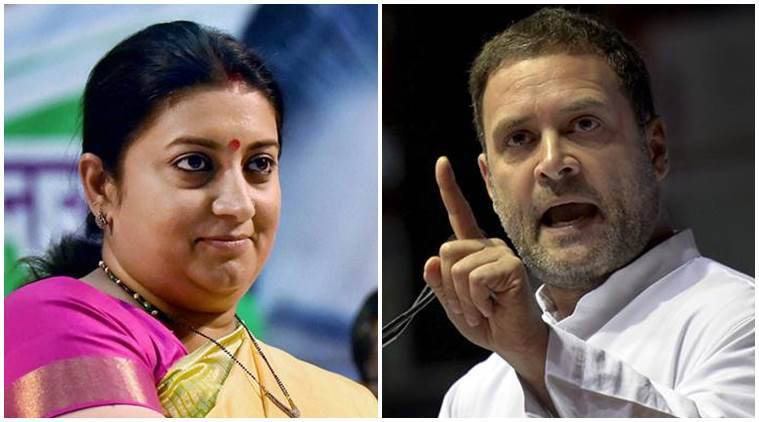 smriti irani, rahul gandhi, smriti irani slams rahul gandhi, narendra modi, RSS, textile minister, indian express