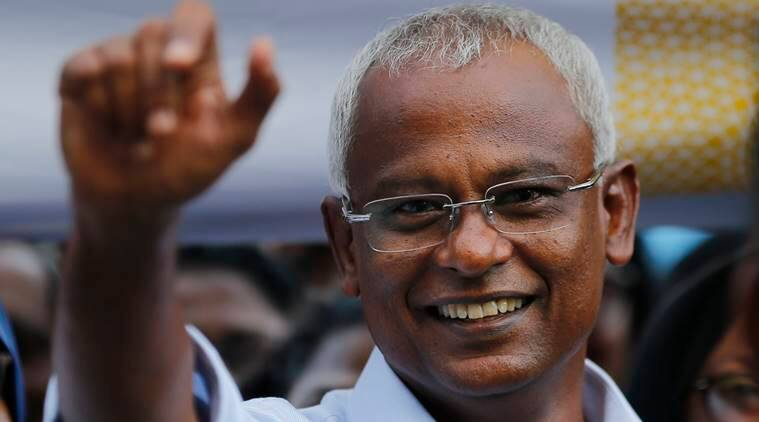 Maldives President Ibrahim Mohamed Solih celebrates victory in parliamentary election