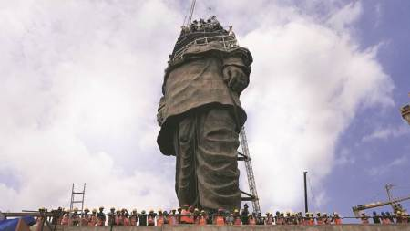 "With a little over a month to go for inauguration, ""the world's tallest statue"", dedicated to Sardar Vallabhbhai Patel, stands at about 120-130 metres height — minus the head and shoulders"