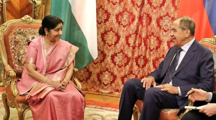 Sushma Swaraj meets Russian counterpart Sergey Lavrov in Moscow
