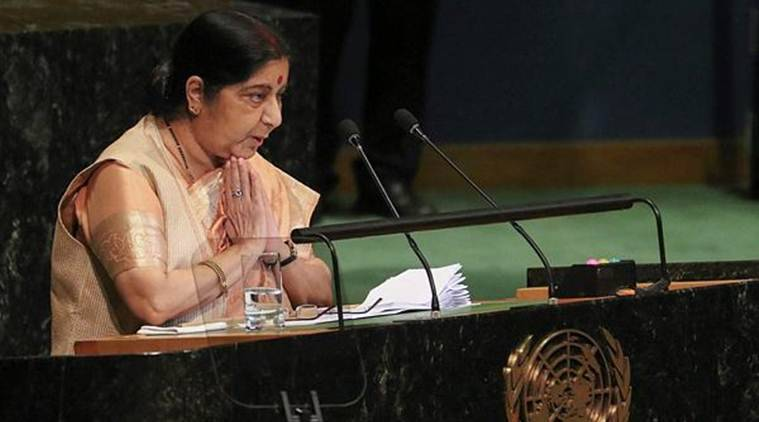External Affairs Minister Sushma Swaraj addresses the 73rd United Nations General Assembly, at the UN Headquarters, on Saturday. (PTI)