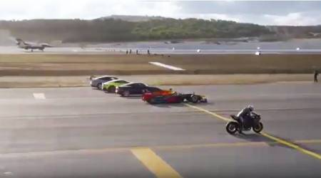 A superbike, an F1 car and an F-16 jet raced against each other, and guess who won