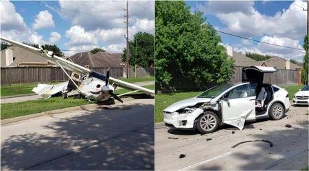 texas plane crash, DEA plane crash tesla, plane crash land on tesla, elon musk, sugar land DEA plane crash, odd news, funny news, indian express