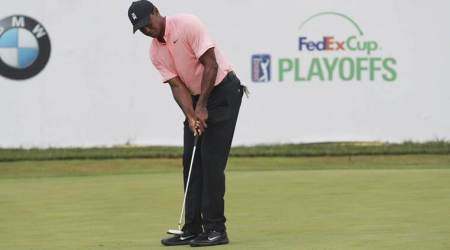 BMW Championship: Birdies elude Tiger Woods as he slips to five shots behind leader Schauffele