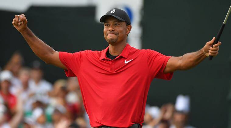 Tiger Woods reacts to win the Tour Championship golf tournament at East Lake Golf Club in Atlanta Georgia, U.S.