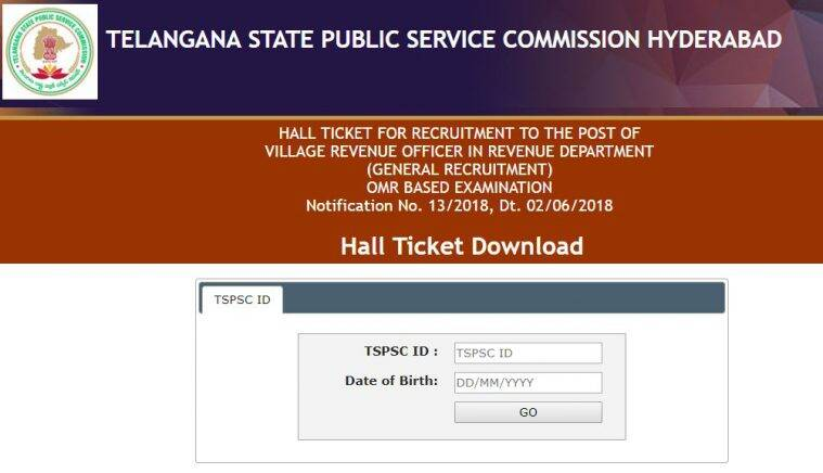 TSPSC VRO hall ticket 2018, Tspsc, tspsc.gov.in