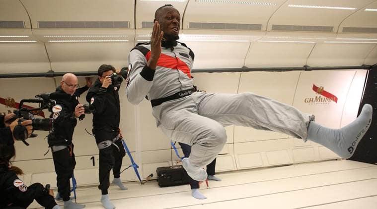 Usain Bolt, Usain Bolt race, Usain Bolt zero gravity, Usain Bolt space, Usain Bolt fastest man, champagne, Usain Bolt in Zero Gravity Race, zero gravity
