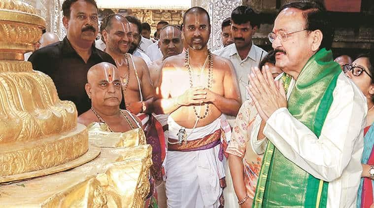 Venkaiah naidu, Vice-president, Lord Venkateswara temple, Naidu's Lord Venkateswara temple visit, Francois Hollande, BJP, Congress, Rafale deal, india news, delhi confidential