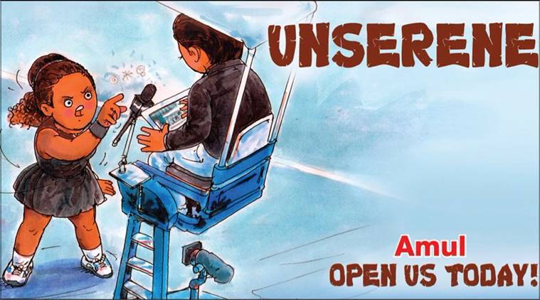 us open 2018 controversy, us open serena williams, serena williams controversy, serena williams chair umpire controversy, serena controversy us open, Naomi Osaka, who is Naomi Osaka, Amul, amul serena williams cartoon,