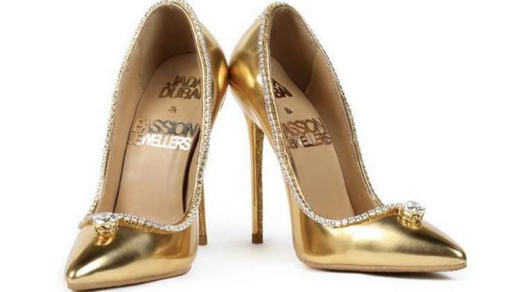 world's most expensive shoes, diamond studded, burj al arab, dubai, Jada Dubai, expensive shoes, shoe lovers, passion diamond shoes, indian express, indian express news