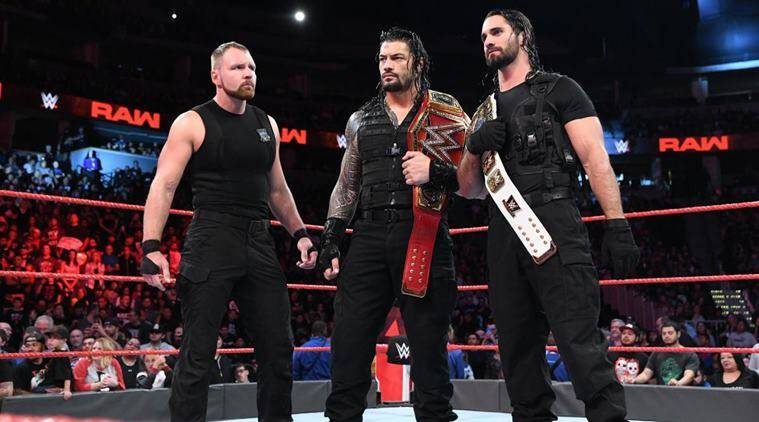 Dean Ambrose, Roman Reigns and Seth Rollins on WWE Raw