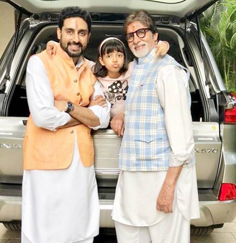 aaradhya with abhishek bachchan