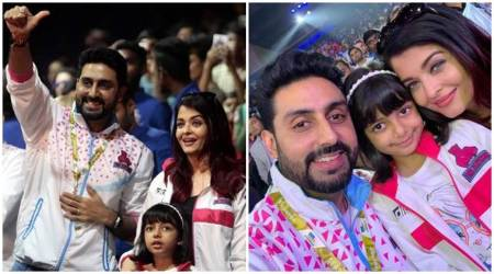 Abhishek Bachchan Aishwarya Rai Aaradhya cheer Pro Kabaddi League Pink Panthers photos