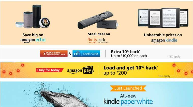 Amazon Great Indian Festival sale, Diwali 2018 Amazon Echo deals, Great Indian Festival sale Amazon Echo offers, Amazon Echo series, Fire TV Stick Diwali deals, Great Indian Festival sale Amazon product deals, Amazon Fire TV Stick, Great Indian Festival sale date and timings, Amazon Kindle Paperwhite, Diwali deals on Amazon Kindle, top offers on Great Indian Festival sale, Amazon hardware devices, Great Indian festivak sake deals on Prime