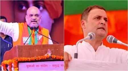 Amit shah, Rahul Gandhi, Congress rally in rajasthan, BJP rally telangana, amit shah in telangana, rahul gandhi in rajasthan, indian express, india news