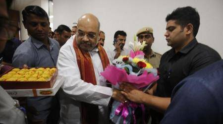 In pictures: BJP workers queue up to wish Amit Shah on his birthday