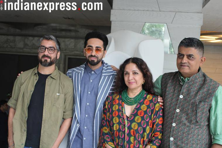 Badhaai Ho director Amit Ravindernath Sharma with Ayushmann Khurrana, Neena Gupta and Gajraj Rao