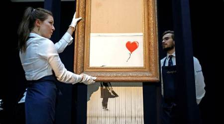 year in art, year in art 2018, interesting developments in the world of art, interesting developments in the world of art 2018, banksy, man falling into art installation portugal, art 2018, indian express, indian express news