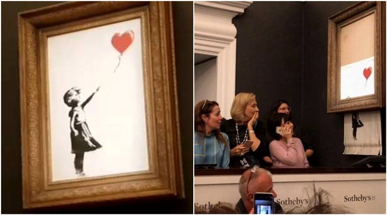 Banksy painting self-shreds after selling at auction for $1.4 million
