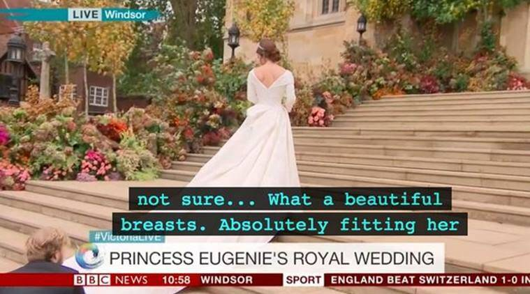 Princess Eugenie, royal wedding, Princess Eugenie wedding, BBC Princess Eugenie wedding subtitles, Princess Eugenie breasts subtitle, bbc subtitiles fail, funny news, news bloopers, indian express