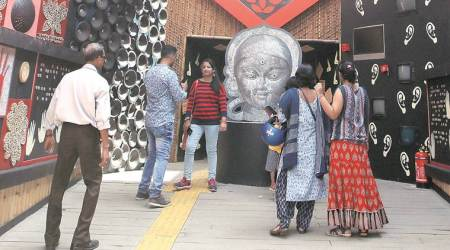 With mantras in Braille, textured facade of Durga, a special pandal in south Kolkata