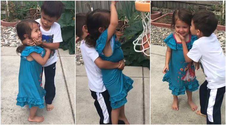 brother helps sister learn basketball, brother helps sister play basketball viral video, brother sister basket ball viral video, sibling love,