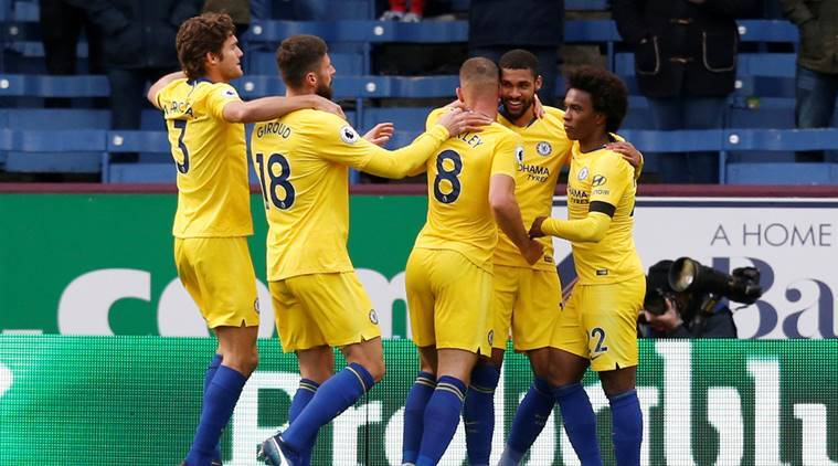Chelsea's Ruben Loftus-Cheek celebrates scoring their fourth goal with Ross Barkley and team mates