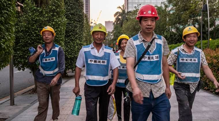 Construction workers in China