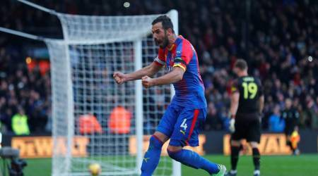 Crystal Palace's Luka Milivojevic celebrates scoring their second goal.