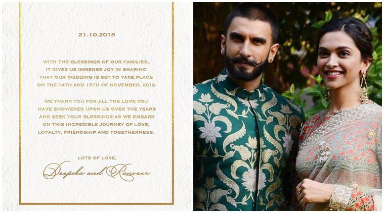 Deepika Padukone and Ranveer Singh announce wedding date
