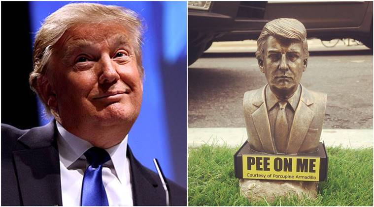 tiny Donald Trump pee on me Statues, donald trump statues, New York new Donald trump statues, viral statues, Pee On Me,