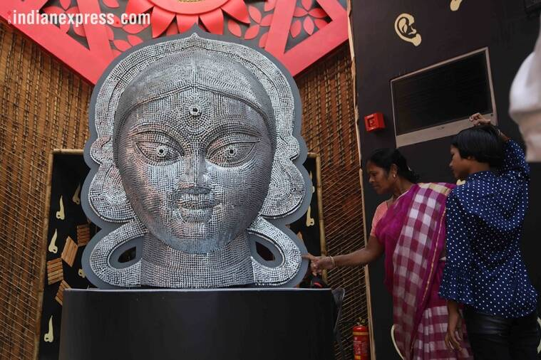 durga puja, durga puja 2018, samaj sebi sangha puja, puja for blind people, durga puja for blind people, kolkata news, unique kolkata puja themes, india news, indian express